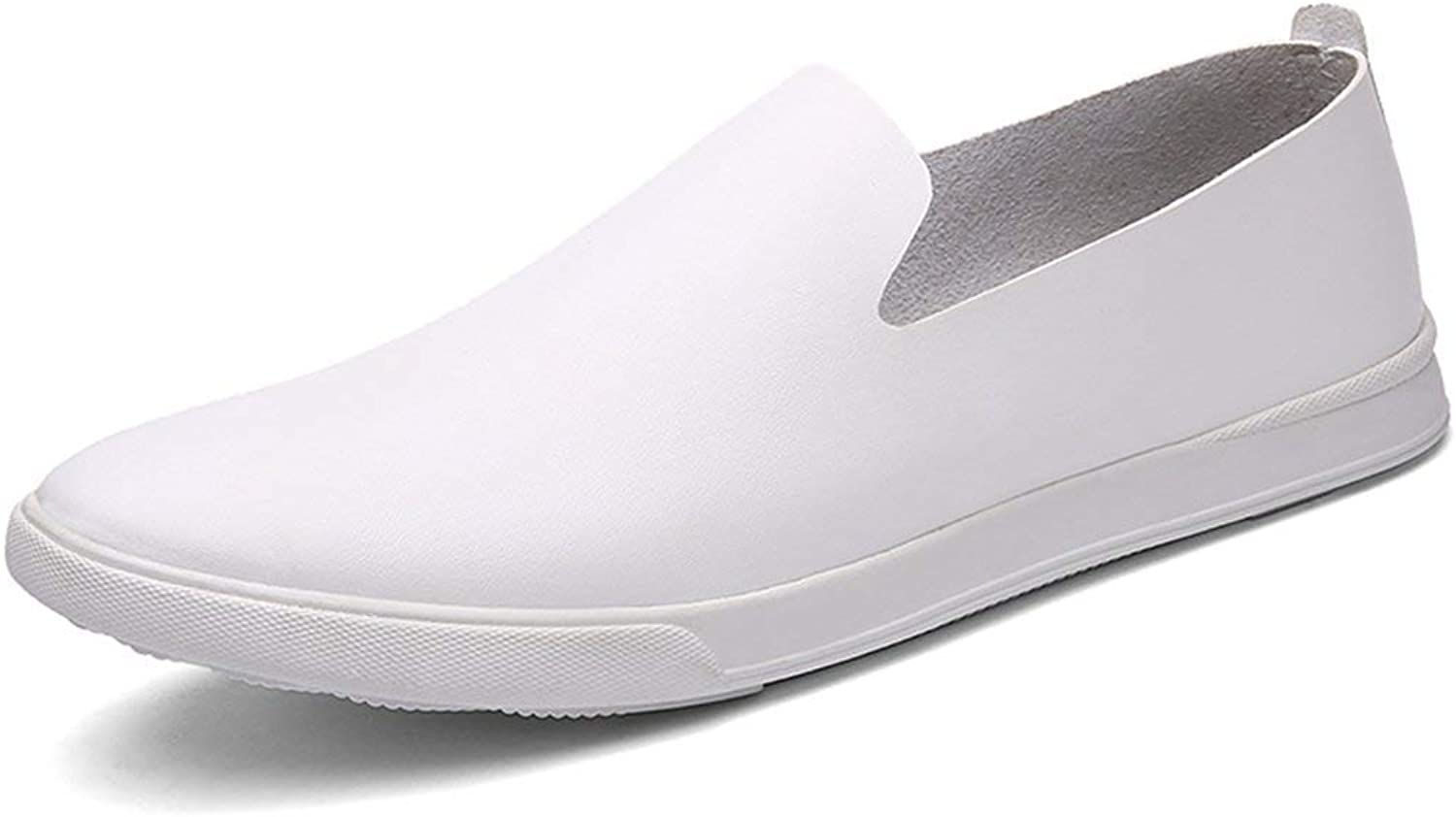 ZHRUI Boy's Men's Rubber Sole Spring shoes Dress Loafers (color   White, Size   7 UK)