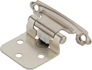 Silverline 25 Pairs (50 pcs)Self Closing Cabinet Hinges Face Mount , for Variable Overlay Kitchen Door, Brushed Satin Nickel
