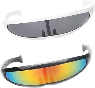 0e1b088596 P Prettyia 2X Gafas de Sol de Visera Estrechas Futurista Robot  Extraterrestre Fiestas de Disfraces Noche