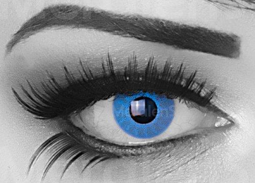 Solar Blue Farbige Funnylens Crazy Fun ocean Blau Kontaktlinsen perfekt zu Fasching, Karneval Halloween Anime Manga oder zum Alltag mit gratis Behälter und 60ml Pflegemittel Topqualität zu jedem Event geeignet.