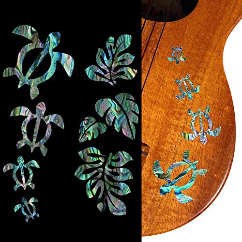 Pegatinas para ukeleles – Familia Honu & Hojas tropicales Monstera – Azul abulón, UK-273HF-BL-AZ