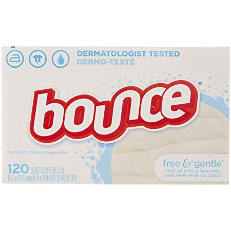 Bounce Free & Gentle Unscented Fabric Softener Dryer Sheets for Sensitive Skin, 120 Count