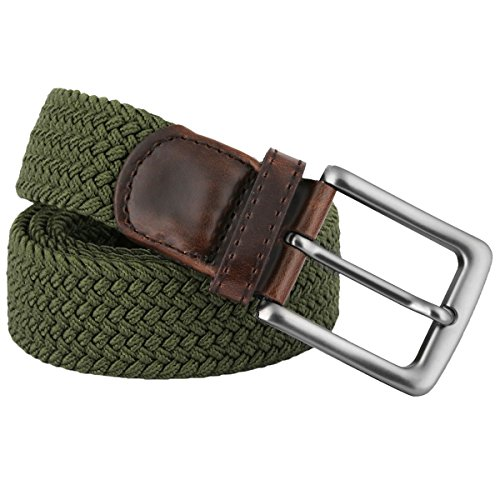 Sportmusies Elastic Braided Belts for Men,PU Leather Stretch Woven Belt, Army Green