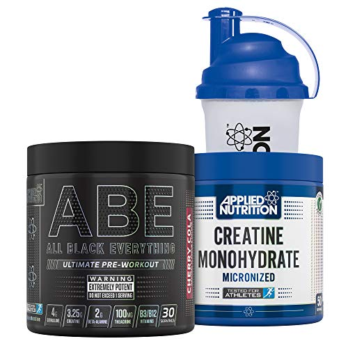 Applied Nutrition Bundle ABE Pre Workout 315g + Creatine Monohydrate 250g + 700ml Protein Shaker   All Black Everything Preworkout with Citrulline, Creatine, Beta Alanine (Cherry Cola)