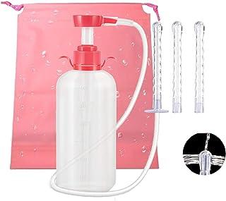 MinYn 5点セット 浣腸器 三つのノズル 収納袋付き 洗浄器 九つ穴 PVC製 男女兼用 600ml