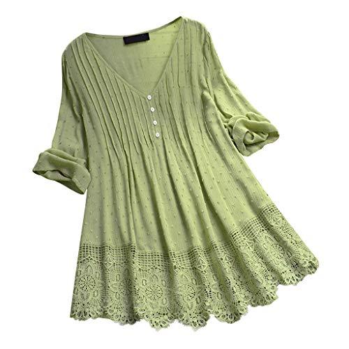 Shineshae Bluse Damen Elegant Oversize Langarm Leinenbluse Baumwolle und Leinen Lose Longbluse Vintage Rüschen Spitze T-Shirt Einfarbig Lässige Tunika Hemdbluse Oberteile Tops Große Größen