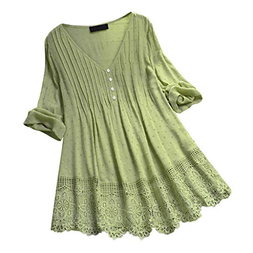 Sale!! Toimothcn Women Vintage Ruffled 3/4 Sleeve Lace V-Neck Plus Size Cotton Tunic Top T-Shirt Blo...