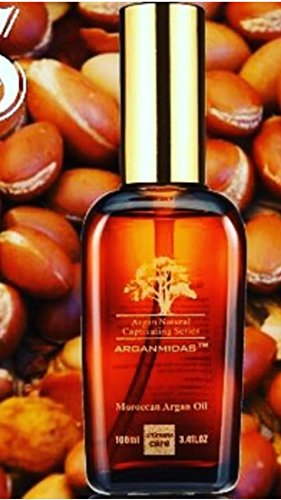 Argan Oil 3.4 Oz. (100 ml) For Hair and Skin Care. ARGANMIDAS MOROCCAN OIL is Rich in VITAMIN E- a POWERFUL Antioxidant Proven to Leave Soft Silky Shiny Hair, Radiant Youthful Skin and Smooth- Moisturized Cuticles. Buy With Confidence Today! by Expect Miracles Beauty