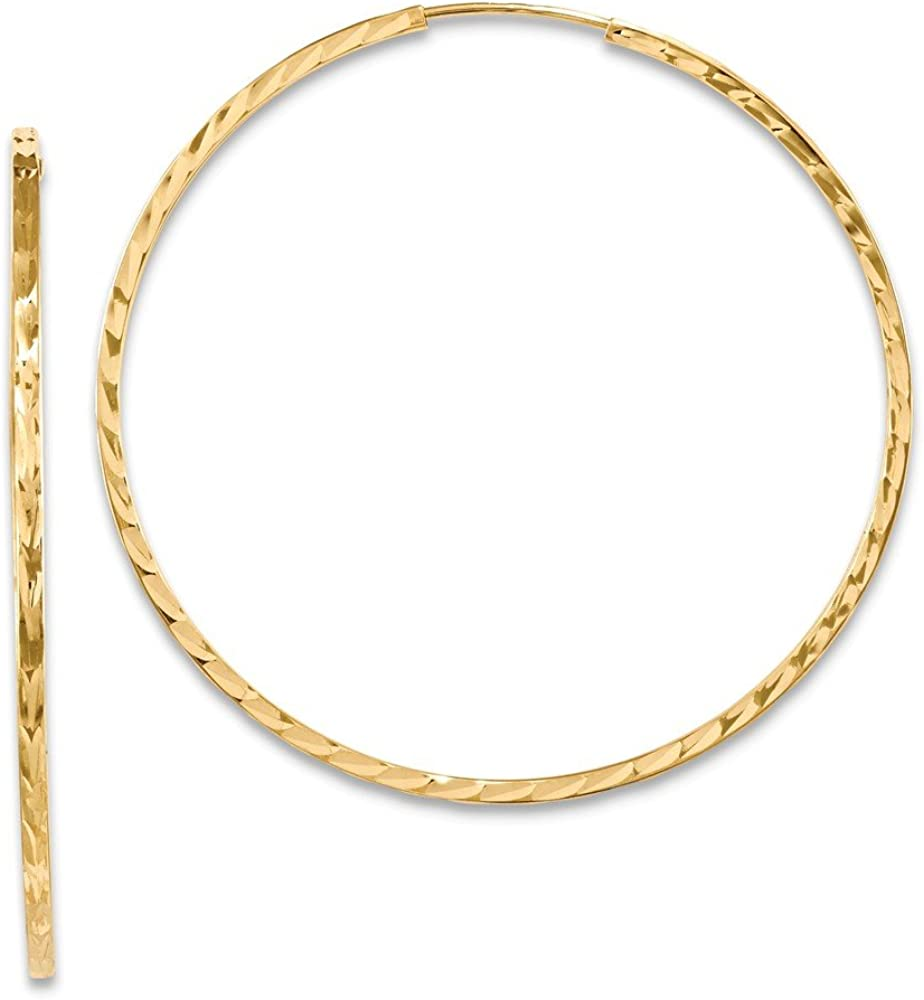 Solid 14k Yellow Gold Diamond-Cut Square Tube Endless Hoop Earrings (60mm x 60mm)