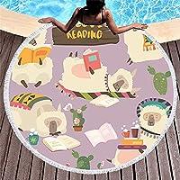 漫画アルパカ 150 センチメートルラウンドビーチタオル壁タペストリーピクニック毛布ポータブルアウトドアスポーツキッズギフトマットヨガマット
