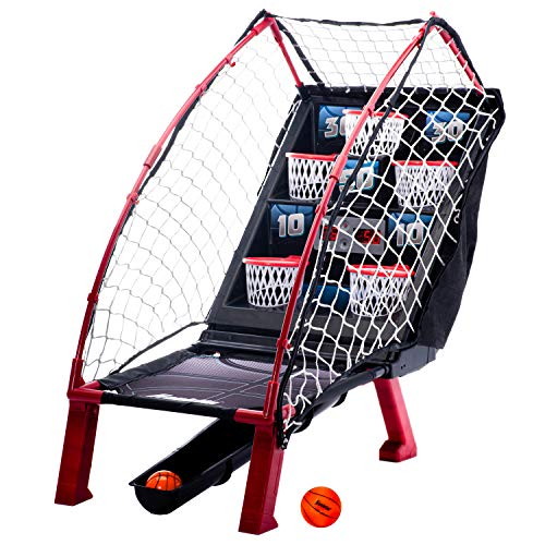 Franklin Sports Anywhere Basketball Arcade Game - Table Top Basketball Arcade Shootout- Indoor Electronic Basketball Game for Kids Game Room