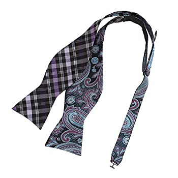 Purple Paisley Men Bow Ties Clip-On Adjustable Self Bow Tie Retro Tall EBAF0059 Epoint Medium Purple,Lavender,Dark Turquoise,Black,Pale Viole Tred Silk