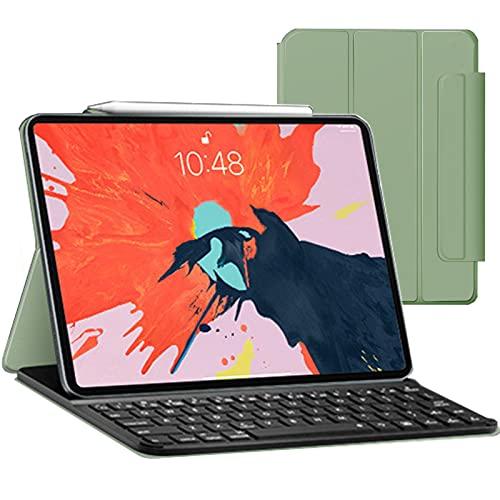 FEIRONG Funda para iPad Pro 12.9 2021 con Teclado, Teclado para iPad Pro 12.9 Pulgadas 2020 4th-Gen / 2018-3rd Gen, Funda para Teclado con portalápices, Sleep and Wake - Desmontable,Light Green