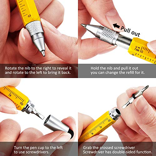 Gift Pen for Men 6 in 1 Multitool Tech Tool Pen Screwdriver Pen with Ruler, Levelgauge, Ballpoint Pen and Pen Refills, Unique Gifts for Men, 3 Pack (Black, Blue, Yellow)