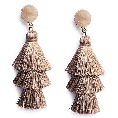 Bohemian Thread Tassel Earrings Trendy Khaki Brown Chandelier 3-Tier Graduated Fringe Women Girls Tassle Drop Dangle Earrings Druzy Stud Top