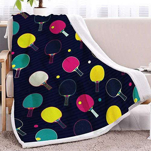 CGZLNL Kuscheldecke Erwachsene und Kinder, Farbiger Tischtennisschläger Sherpa warm flauschig Fleecedecke Superweiche Fleecedecke Durable Home Decor Perfekt für Couch Sofa Betten 130x150 cm