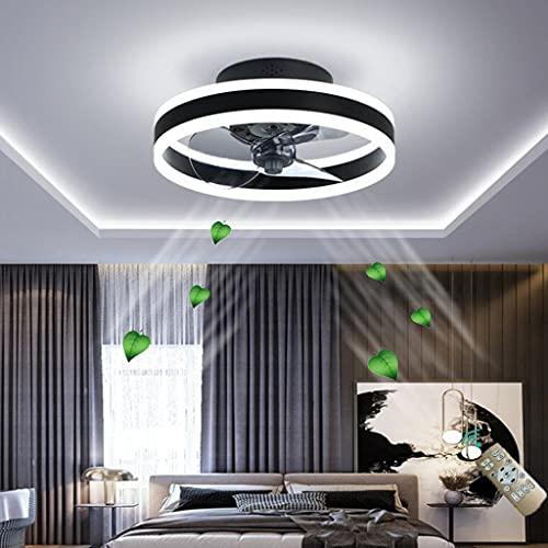 Ventiladores techo iluminación control remoto Regulable Regulable Velocidad del viento Silencioso Moderno Ventilador de sala de estar Luz de techo Luz del ventilador dormitorio,Negro,50cm