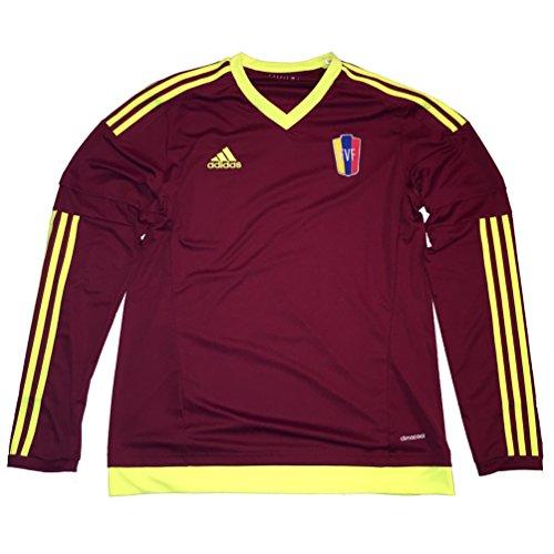 adidas Camiseta Venezuela 2015/16 Inicio Manga larga, M, Rojo vino