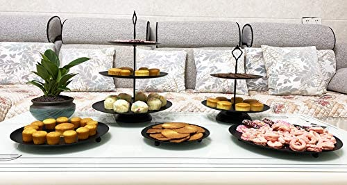 5 Pieces Cupcake Holder Set Black Metal Cake Stand Dessert Display Plate Decor Serving Platter product image