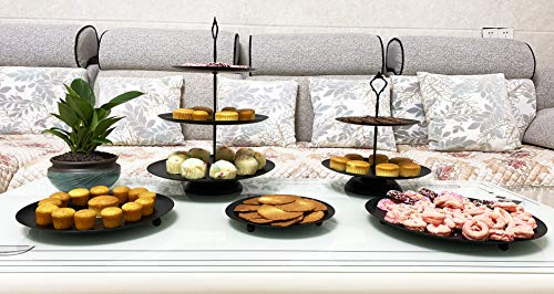 5 Pieces Cupcake Holder Set Black Metal Cake Stand Dessert Display Plate Decor Serving Platter for Baby Shower Wedding Birthday Parties Celebration