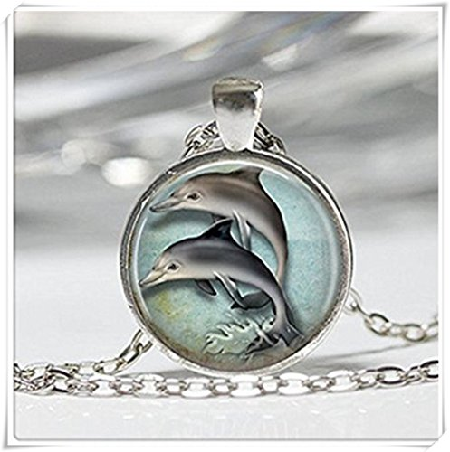 Nautical Jewelry Porpoise Marine Seaside Ocean Art Hanger in brons of zilver met Link Chain inbegrepen