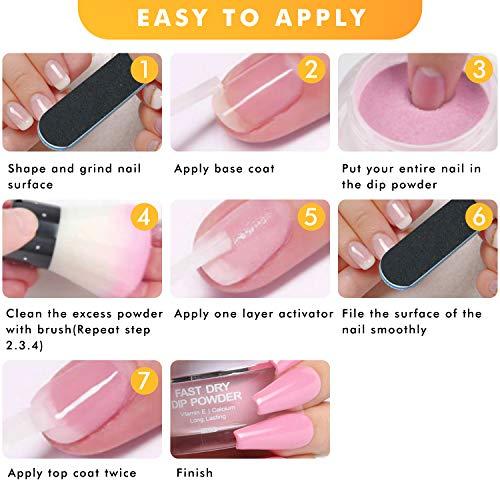 Nail Dipping Powder Kit - 1s Fast Dry Dip Nail Powder System Starter Kit 3 Colors Dip Powder Nail Kit Acrylic Dip Powder Set INFELING French Nail Manicure Nail Art Set No UV/LED Lamp Needed with Bag