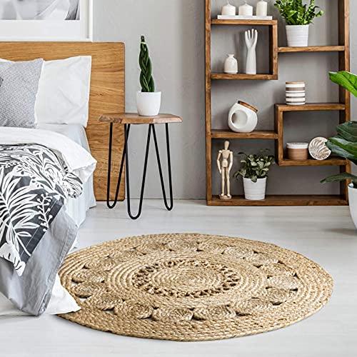 Luxor Living Teppich Balo runder Boho Jute Teppich handgewebtes Naturprodukt aus natürlichen Pflanzenfasern ø 80 cm
