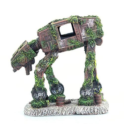 Aiglen Acuario Creativo Paisajismo Autobot Robot Perro Transformadores Tema Pecera Decoración Resina Artesanía
