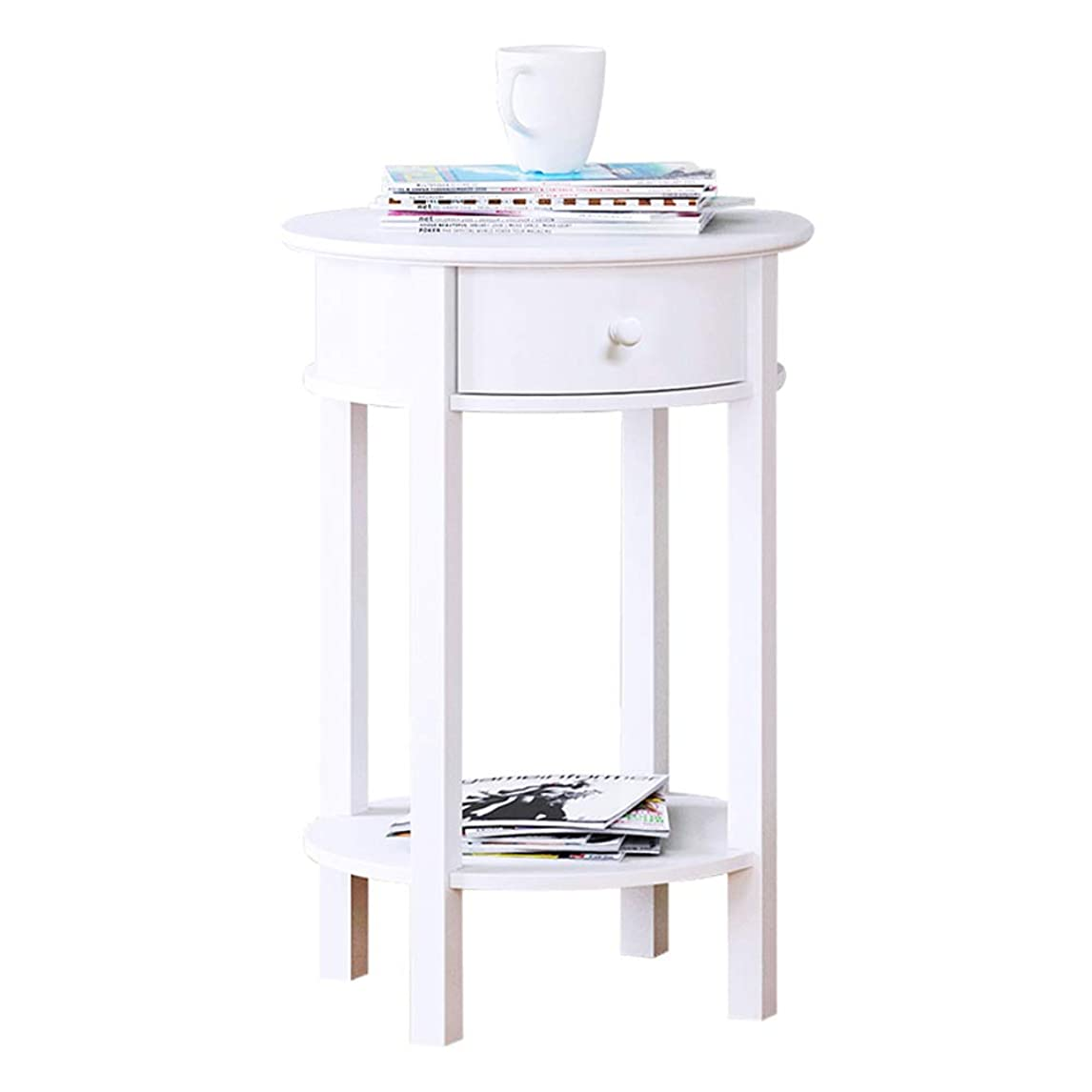 修正する有限そんなにZR- 北欧ラウンドソファサイドテーブルエンドテーブルリビングルームレジャーミニコーヒーテーブル1引き出しロッカーベッドルームベッドサイドキャビネットホワイト 家具
