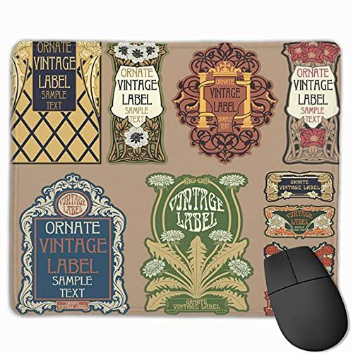 Gaming-Mauspad, Premium-strukturierte Mauspad-Pads, niedliches Mousepad für Spieler, Büro und Zuhause Antike Retro-Vintage-Artikel Label Nouveau Victorian Badge