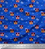 Soimoi Blau Baumwoll-Popeline Stoff Noten, Punkt & Brille