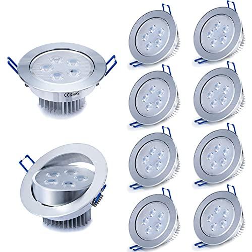 PJDOOJAE 10 unids 5W LED Empotrado Iluminación Downlight Empotrable Techo Spot Light Lámpara Lámpara Caliente Blanco AC85-265V 450-500 LUMEN 2835 Diámetro del orificio SMD 85-100mm EDRARE DE LA CASA D