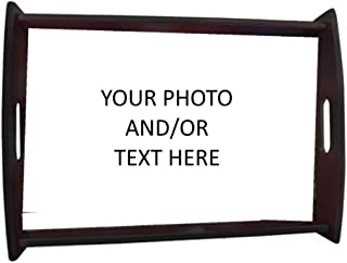 Customized Wooden Serving Tray – With Your Own Photo/Text - Perfect Personalized Gift (Small, Black)