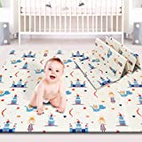 Baby Play mat, Foam Playmat Kids Folding Mat Reversible Waterproof Non Toxic, Crawling Mat for Babies, Infants, Toddler, 71' x 79' x 0.6' (Prince)