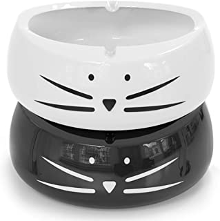 Koolkatkoo Cute Cat Ashtray Indoor or Outdoor Use Ceramic Ash Holder for Smokers Girls Women Decorative Ashtrays for Home Office Cat Lover Ash Tray Black and White