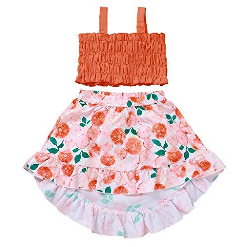 Moneycom❤Toddler Kids Baby Girls Solid Vest Floral Print Dress Outfits Summer Clothes Orange(2-3 Ans)