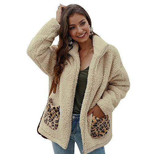 YYW Dames Warm Faux Bont Rits Jas Vest Lapel Outwear met Luipaard Zakken