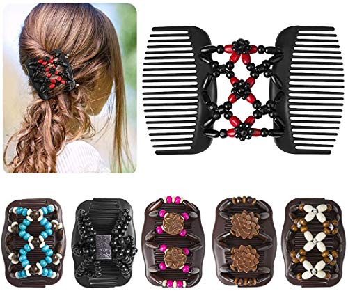 Women Fashion Hair Combs Accessories Cojzlx Magic Stretch Wooden Beads Double Side Combs 6 Pieces Women Butterfly Wood Beaded Hair Combs Magic Elastic