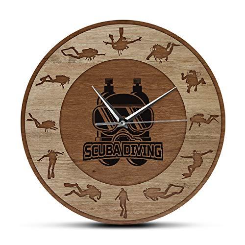 xinxin Reloj de Pared Buceo Arte subacuático Textura de Madera Reloj de Pared Impreso Deportes subacuáticos Decoración para el hogar Reloj de Cuarzo silencioso Regalo de Buzo