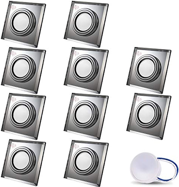LED Einbaustrahler aus Glas Spiegel Klar extra-flach CRISTAL Eckig Inkl. 10X 5W LED Modul Warmweiss Einbautiefe  30 mm 230V IP20 Deckenstrahler Einbauleuchte Deckeneinbaustrahler Einbauspot Clear