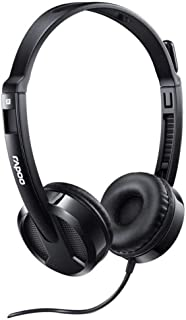 RAPOO HEADSET WIRED STEREO H100 PLUS - BLACK (WITH SPLITTER)