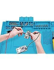 """Voniry Soldeermat 500 ℃ hittebestendig 17,7 """"*11,8""""*0.23"""" Antislip en niet-toxisch Geurloze siliconen reparatiemat voor het solderen van elektronica assemblage of elektronica en printplaat reparatie Blauw £1399£13,99"""