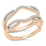 Dazzlingrock Collection 0.35 Carat (ctw) 10K White Diamond Wedding Enhancer Guard Double Band 1/3 CT, Rose Gold, Size 6.5