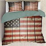 Juego de funda nórdica de ropa de cama con bandera estadounidense Bandera de EE. UU. Sobre tablero de madera de rayas verticales Kits de solidaridad ciudadana Juego de funda nórdica y funda de almohad