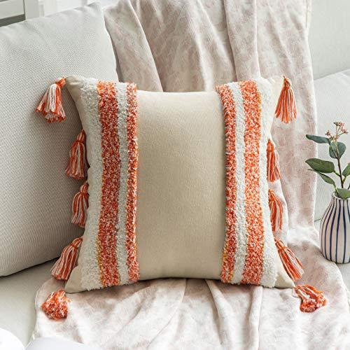 MIULEE Funda de Cojín para Sofa Fundas de Cojines Bohemia Almohadas Decorativas Copetudas Suave Decoración Moderna para Silla Cama Sala de Estar Dormitorio 1 Pieza 40x40 cm Blanco y Naranja
