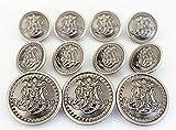 11 Pieces Vintage Antique Dark Silver Metal Blazer Button Set - King's Crowned, Vine - for Blazer, Suits, Sport Coat, Uniform, Jacket