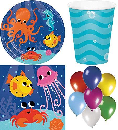 Meer Unterwasserwelt Fisch 82-teiliges Kindergeburtstag Party Deko Set Motto Fete Feier 8 Teller, 8 Becher, 16 Servietten, 50 Luftballons