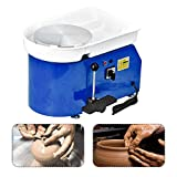 SKYTOU Pottery Wheel Pottery Forming Machine 25CM 350W Electric Pottery Wheel with Foot Pedal DIY Clay Tool Ceramic Machine Work Clay Art Craft (Blue)
