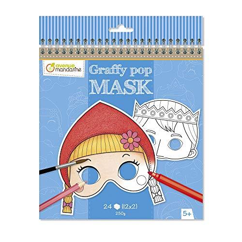 Avenue Mandarine GY091C Malbuch Graffy pop (mit vorgestanzten Masken zum Ausmalen, 250g Zeichenpapier gedruckt, 24 Blatt, 12 verschiedene Motive x 2, für Kinder ab 5 Jahren) 1 Stück Grimm´s Märchen
