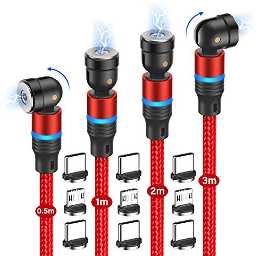 Magnetisches USB Ladekabel, [4Stück, 0.5m+1m+2m+3m] 3 in 1 Magnet Ladekabel, 360°&180°Rotierendes Nylon Ladekabel Magnetisch Kabel USB für Micro USB/Typ C (Rot)